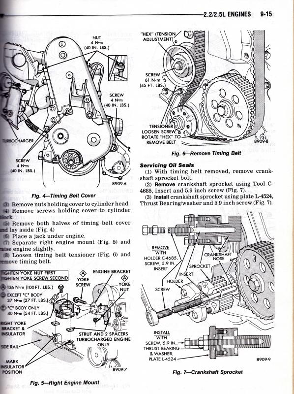 engine cam timing and belt tension 84-95 2 2  2 5l